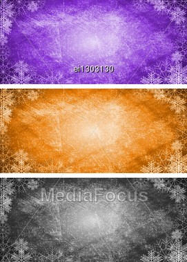 Abstract Xmas Banners With Snowflakes. Stock Photo