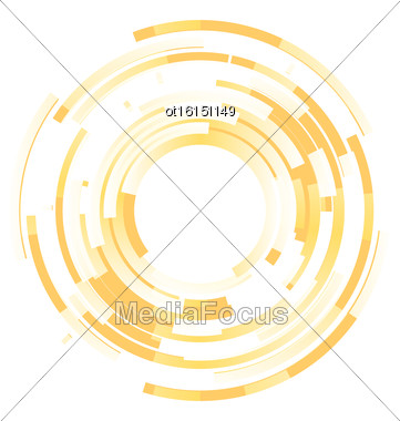 Abstract Yellow Background Frame Blended Elements Striped Transparency Cut From Circles - Vector Stock Photo