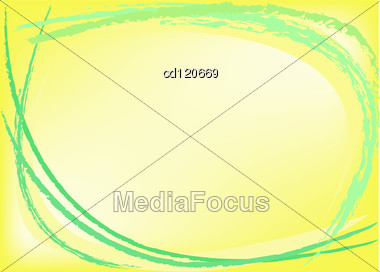 Abstract Yellow Background With Green Chalk Strokes Stock Photo