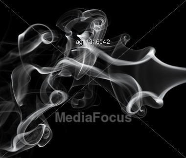 Abstraction: White Smoke Pattern Over Black Backgroun D Stock Photo