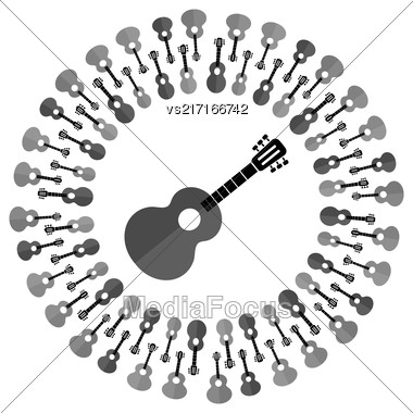 Acoustic Guitar Silhouette Isolated On White Background. Musical Pattern Stock Photo