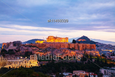 Acropolis In Athens, Greece In The Evening After Sunset Stock Photo