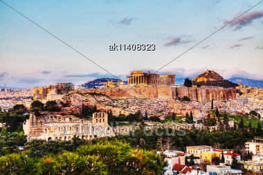 Acropolis In Athens, Greece In The Evening Before Sunset Stock Photo