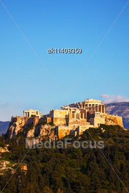 Acropolis In Athens, Greece On A Sunny Day Stock Photo