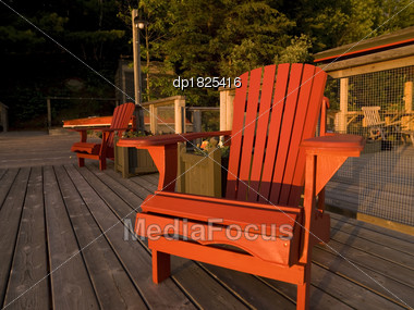 Stock Photo Adirondack Chairs Dock Lake Woods Ontario - Image