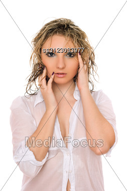 Adorable Playful Young Blonde. Stock Photo