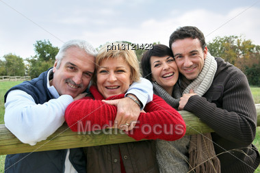 Adult Couples In The Countryside Stock Photo
