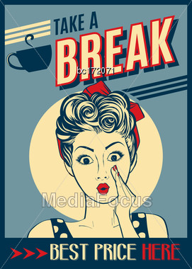 Advertising Coffee Retro Poster With Pop Art Woman, Vector Format Stock Photo