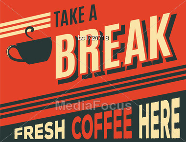Advertising Coffee Retro Poster, Vector Format Stock Photo