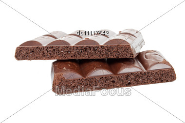 Aerated Black Chocolate Stock Photo