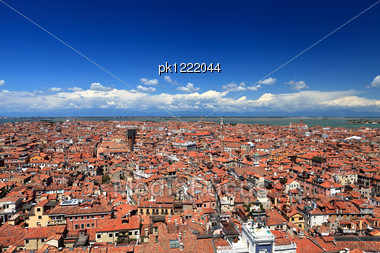 Aerial View Of Roof Of Venetian Houses. Venice. Italy. Stock Photo