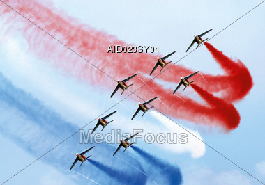Aerobatic Squadron in Formation Stock Photo