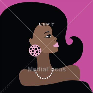 African American Beautiful Woman. Portrait. Vector Illustration Stock Photo