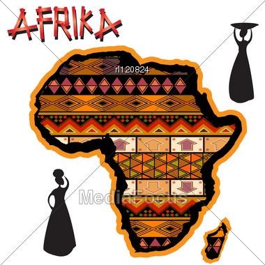 African Continent With Traditional Cover And Women Silhouettes Stock Photo