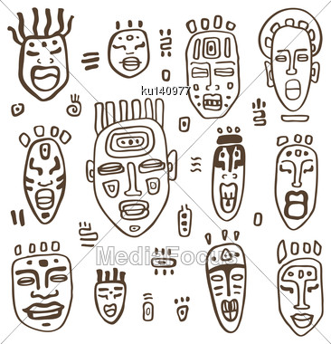 African Masks Set. Ethnic Hand Drawn Vector Illustration Stock Photo