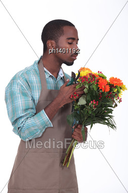 Afro-American Flowers Retailer Stock Photo