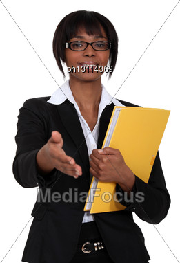 Afro-American Woman Greeting Somebody Stock Photo