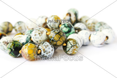 Agate Necklace Isolated On White Background. Stock Photo