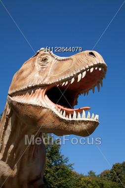 Aggressive T-Rex Close-up On A Blue Sky Stock Photo