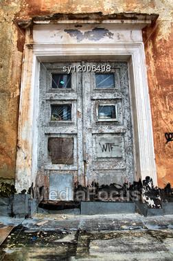 Aging Door In Destroyed House Stock Photo