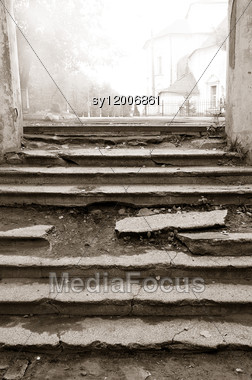Aging Stairway In Destroyed Building Stock Photo