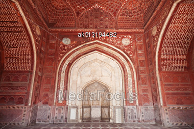 AGRA, INDIA - APRIL 10: Pattern On Taj Mahal On April 10, 2012 In Agra, India. Taj Mahal Is Widely Recognized As The Jewel Of Muslim Art And One Of The Universally Masterpieces Of The World Stock Photo
