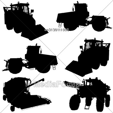 Agricultural Vehicles Silhouettes Set. Vector Illustration. Stock Photo
