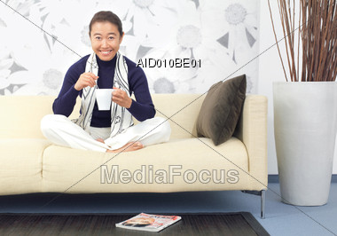 expression relax drinking Stock Photo
