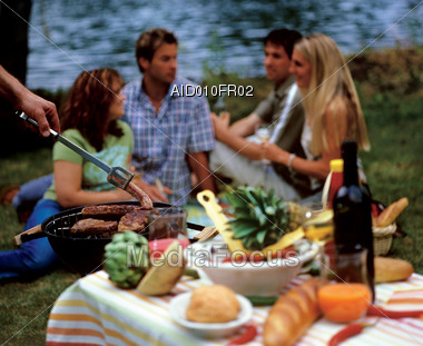 chatting people sausages Stock Photo