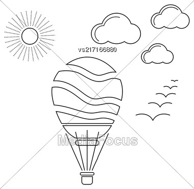 Air Balloon Linear Icon Isolated On White Background Stock Photo