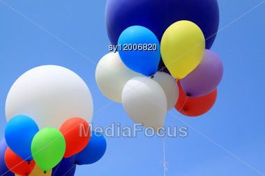 Air Balls In Blue Sky Stock Photo