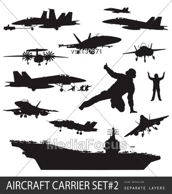 Aircraft Carrier And Naval Aircrafts High Detailed Silhouettes Set#2. Stock Photo