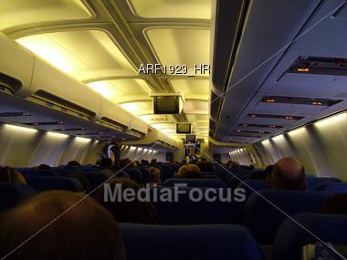 Airline Cabin Interior Stock Photo