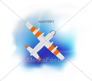 Airplane Flying Over The Blue Skies And Sun Rays Background. Vector Stock Photo