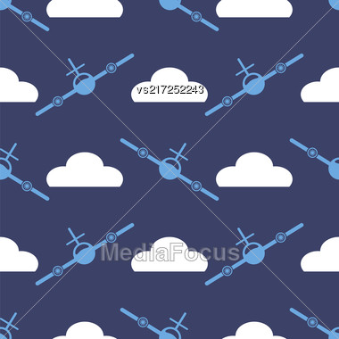 Airplane Silhouette Seamless Pattern On Blue Background Stock Photo
