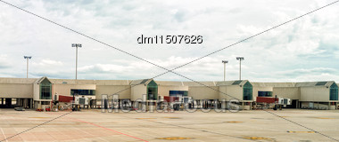 Airport Terminal Docks. View From Outdoors Stock Photo