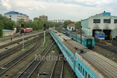 Aktobe City Railway Station, View From The Top Stock Photo