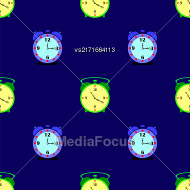 Alarm Clock Seamless Pattern On Blue Background Stock Photo