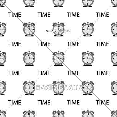 Alarm Clock Seamless Pattern On White Background Stock Photo