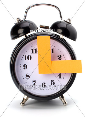 Alarm Clock With Sticky Paper Isolated On White Background Stock Photo