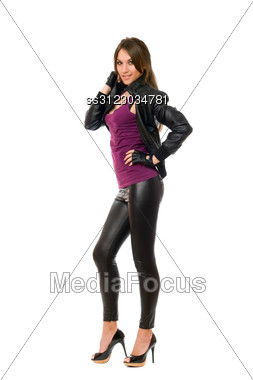 Alluring Young Brunette Lady. Stock Photo