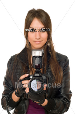 Alluring Young Brunette Woman With The Camera Stock Photo