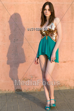 Alluring Young Caucasian Woman Wearing Frank Dress Posing Outdoors Stock Photo