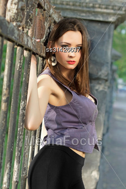 Alluring Young Lady Posing Outdoors Neat The Ancient Fence Stock Photo