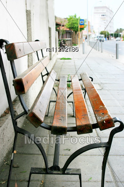 Alone Bench In The Street Stock Photo