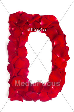 Alphabet Letter D Made From Red Petals Rose Stock Photo