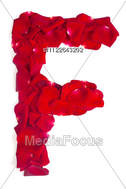 Alphabet Letter F Made From Red Petals Rose Stock Photo