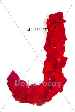 Alphabet Letter J Made From Red Petals Rose Stock Photo