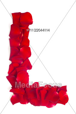 Alphabet Letter L Made From Red Petals Rose Stock Photo