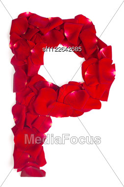 Alphabet Letter P Made From Red Petals Rose Stock Photo